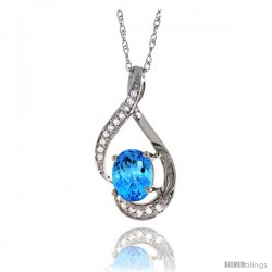 14K White Gold Natural Swiss Blue Topaz Pendant, 3/4 in long