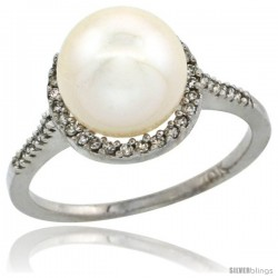 14k White Gold Halo Engagement 8.5 mm White Pearl Ring w/ 0.146 Carat Brilliant Cut Diamonds, 7/16 in. (11mm) wide
