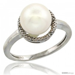 14k White Gold Halo Engagement 8.5 mm White Pearl Ring w/ 0.022 Carat Brilliant Cut Diamonds, 7/16 in. (11mm) wide
