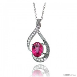 14K White Gold Natural Pink Topaz Pendant, 3/4 in long