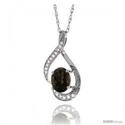 14K White Gold Natural Smoky Topaz Pendant, 3/4 in long