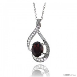 14K White Gold Natural Garnet Pendant, 3/4 in long