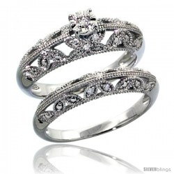 Sterling Silver Diamond Vintage Style 2-Pc. 11-Stone Butterfly Design Engagement Ring Set Rhodium Finish