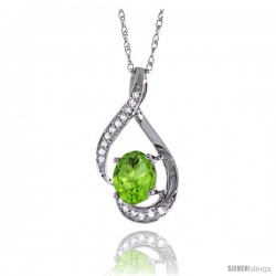 14K White Gold Natural Peridot Pendant, 3/4 in long