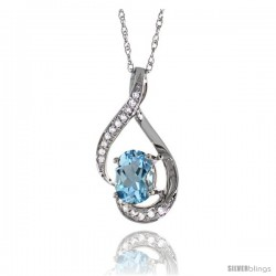 14K White Gold Natural Aquamarine Pendant, 3/4 in long