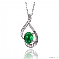 14K White Gold Natural Emerald Pendant, 3/4 in long