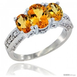 14k White Gold Ladies Oval Natural Citrine 3-Stone Ring Diamond Accent