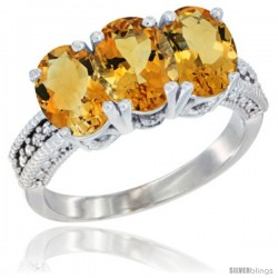 14K White Gold Natural Citrine Ring 3-Stone 7x5 mm Oval Diamond Accent