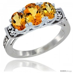 14K White Gold Natural Citrine Ring 3-Stone Oval with Diamond Accent