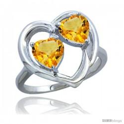 14k White Gold 2-Stone Heart Ring 6mm Natural Citrine Stones Diamond Accent