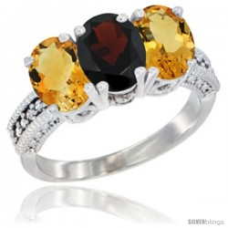 14K White Gold Natural Garnet & Citrine Sides Ring 3-Stone 7x5 mm Oval Diamond Accent