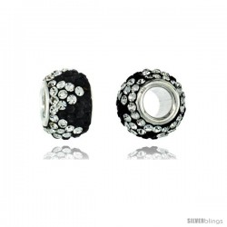 Sterling Silver Crystal Bead Charm Crown Shape Black & White Color w/ Swarovski Elements, 11 mm