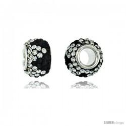 Sterling Silver Crystal Bead Charm Crown Shape Black & White Color w/ Swarovski Elements, 11 mm