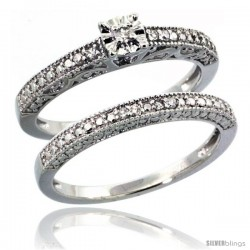 Sterling Silver Diamond Vintage Style 2-Pc. 9-Stone Engagement Ring Set Rhodium Finish
