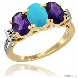 10K Yellow Gold Natural Turquoise & Amethyst Sides Ring 3-Stone Oval 7x5 mm Diamond Accent