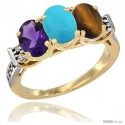 10K Yellow Gold Natural Amethyst, Turquoise & Tiger Eye Ring 3-Stone Oval 7x5 mm Diamond Accent