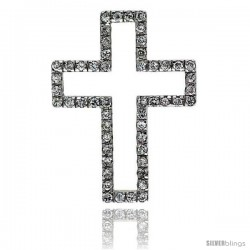 "Sterling Silver Cross Cut Out Pendant, w/ Brilliant Cut CZ Stones, 1 1/2"" (38 mm) tall, w/ 18"" Thin Snake Chain"