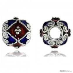 "Sterling Silver Bi Color Diamonds & Hearts Barrel Slide Pendant, 7/16"" (11 mm) wide"