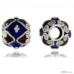 "Sterling Silver Bi Color Diamonds & Hearts Barrel Slide Pendant, 7/16"" (11 mm) wide -Style Pcz410"