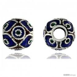 "Sterling Silver Multi Color Diamonds & Circles Barrel Slide Pendant, 7/16"" (11 mm) wide"