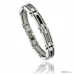 Gent's Stainless Steel Cable & Black Carbon Fiber Bracelet, 1/2 in wide, 8 1/2 in long