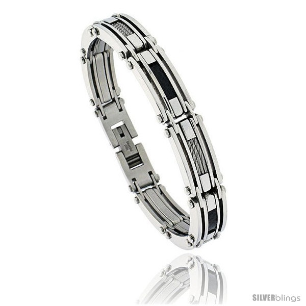 https://www.silverblings.com/805-thickbox_default/gents-stainless-steel-cable-black-carbon-fiber-bracelet-1-2-in-wide-8-1-2-in-long.jpg