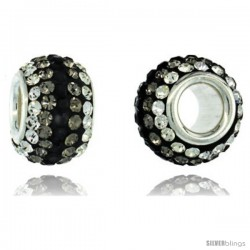 Sterling Silver Crystal Bead Charm White, Smoky, Black, Color w/ Swarovski Elements, 11 mm