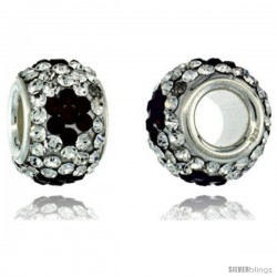 Sterling Silver Crystal Bead Charm White, Black Flower Color w/ Swarovski Elements, 11 mm