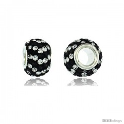 Sterling Silver Crystal Bead Charm White & Black Spiral Color w/ Swarovski Elements, 11 mm