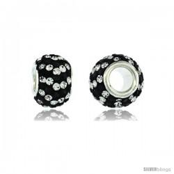Sterling Silver Crystal Bead Charm White & Black Spiral Color w/ Swarovski Elements, 11 mm