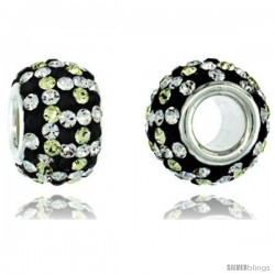 Sterling Silver Crystal Bead Charm Checker Design In White, Citrine & Black Color w/ Swarovski Elements, 11 mm