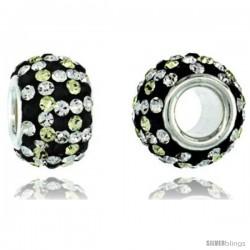 Sterling Silver Crystal Bead Charm Checker Design In White, Citrine & Black Color w/ Swarovski Elements, 11 mm