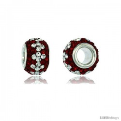 Sterling Silver Crystal Bead Charm Ruby, In White Color w/ Swarovski Elements, 11 mm