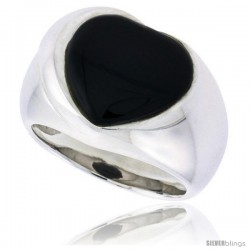 "Sterling Silver Ladies' Ring w/ a Heart-shaped Jet Stone, 5/8"" (16 mm) wide"