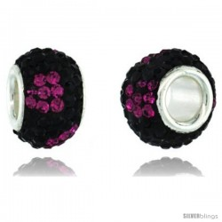 Sterling Silver Crystal Bead Charm Black & Fuchsia Flower Color w/ Swarovski Elements, 11 mm