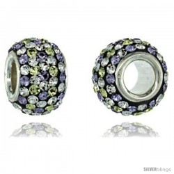 Sterling Silver Crystal Bead Charm Polka dot White & Lime Color w/ Swarovski Elements, 11 mm