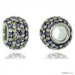 Sterling Silver Crystal Bead Charm Polka dot White & Lime Color w/ Swarovski Elements, 11 mm