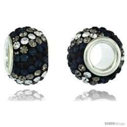 Sterling Silver Crystal Bead Charm Black, Cobalt, Smoky & White Color w/ Swarovski Elements, 11 mm