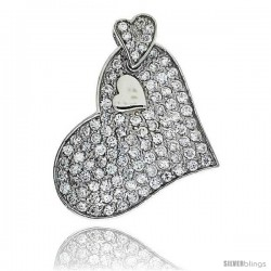 "Sterling Silver Triple Heart Pendant, w/ Brilliant Cut CZ Stones, 1 1/2"" (37 mm) tall, w/ 18"" Thin Snake Chain"