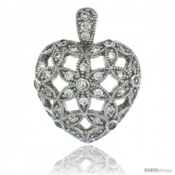 Sterling Silver Floral Heart Pendant w/ Cubic Zirconia Stones, 1 in. (25 mm) tall