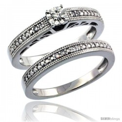 Sterling Silver Diamond Vintage Style 2-Pc. 9-Stone Engagement Ring Set Rhodium Finish -Style Rdia205