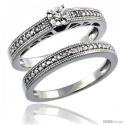 Sterling Silver Diamond Vintage Style 2-Pc. 9-Stone Engagement Ring Set Rhodium Finish -Style Rdia205