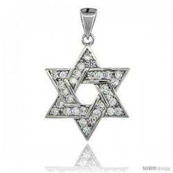 Sterling Silver Jewish Star of David Pendant w/ Cubic Zirconia Stones, 13/16 in. (21 mm) tall
