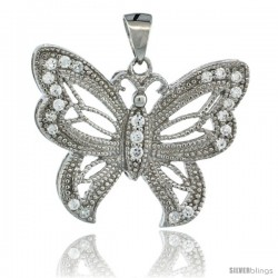Sterling Silver Butterfly Pendant w/ Cubic Zirconia Stones, 3/4 in. (20 mm) tall