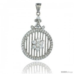 Sterling Silver Eternity Pendant w/ Floral Pattern Cubic Zirconia Stones, 1 1/8in. (28 mm) tall