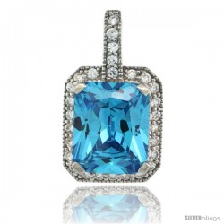Sterling Silver Rectangular Frame Blue Topaz Color Pendant w/ Cubic Zirconia Stones, 9/16 in. (15 mm) tall