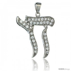 Sterling Silver Hebrew Letter Movable Chai Pendant w/ Cubic Zirconia Stones, 1 in. (24 mm) tall
