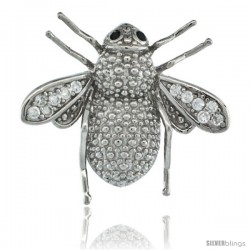 Sterling Silver Honey Bee Pendant Slide w/ Cubic Zirconia Stones, 3/4 in. (19 mm) tall