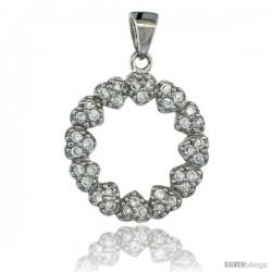 Sterling Silver Multi-Heart Wreath Eternity Pendant w/ Cubic Zirconia Stones, 11/16 in. (17 mm)