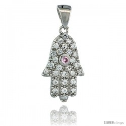 Sterling Silver Hamsa ( Hand of God ) Pink Center Pendant w/ Cubic Zirconia Stones, 3/4 in. (19 mm) tall